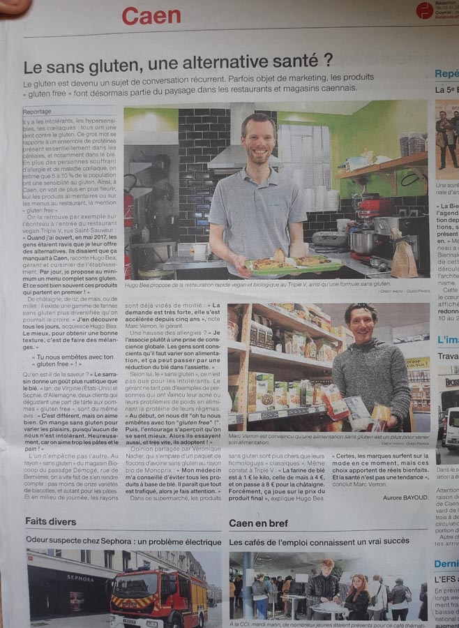 Ouest france (article sur le sans gluten) avril 2018